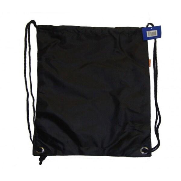 Black Polyester Drawstring Backpacks (Case of 100)