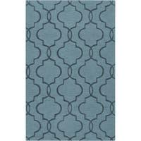 Hand-crafted Tallapoosa Teal Green Geometric Lattice Wool Area Rug (3'3 x 5'3)
