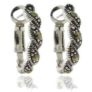 Dolce Giavonna Silver Overlay Marcasite Twisted Omega Hoop Earrings