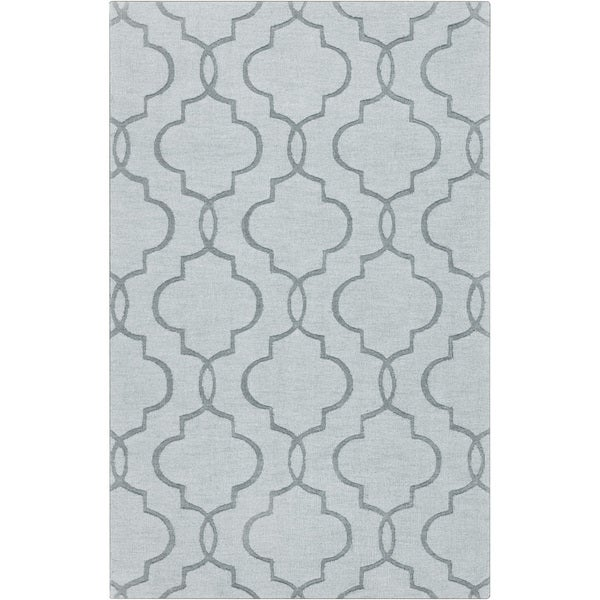 Hand-crafted Stover Grey Geometric Lattice Wool Area Rug - 8' x 11'