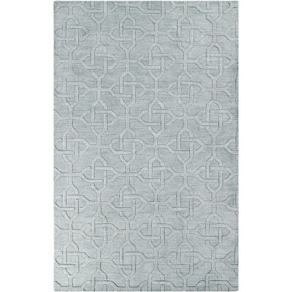 Hand-crafted Truesdale Solid Grey Geometric Wool Rug (2' x 3')