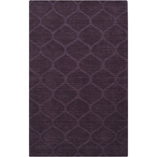 Hand-crafted Steele Solid Purple Lattice Wool Rug (3'3 x 5'3)