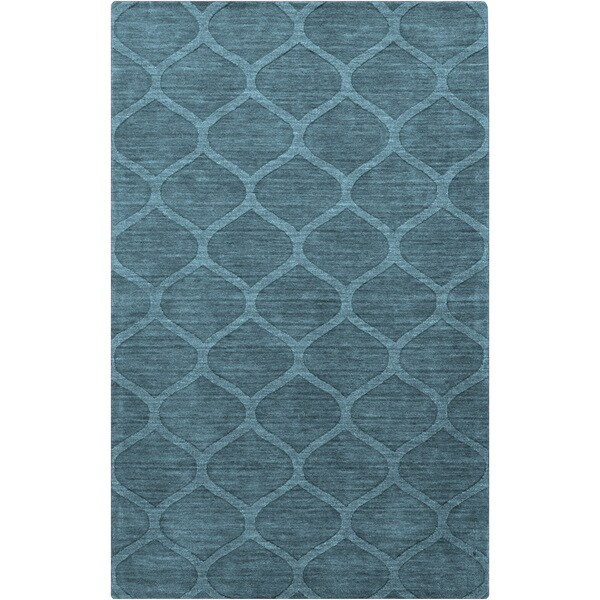 Hand-crafted Solid Teal Blue Lattice Winona Wool Area Rug - 8' x 11'