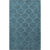Hand-crafted Solid Teal Blue Lattice Winona Wool Area Rug - 5' x 8'