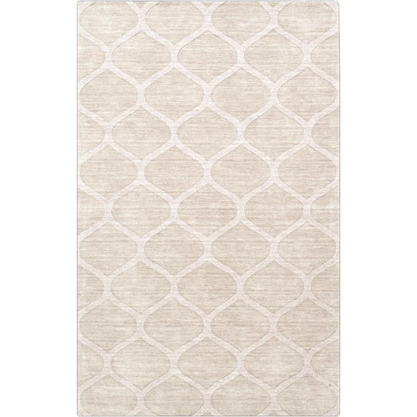 Hand-crafted Solid White Lattice Windsor Wool Area Rug (8' x 11')