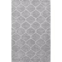 Hand-crafted Solid Grey Lattice Wheeling Wool Area Rug - 8' x 11'
