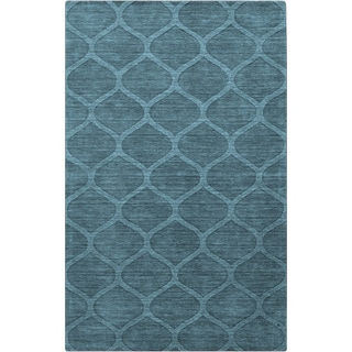 Hand-crafted Solid Teal Blue Lattice Winona Wool Rug (2' x 3')