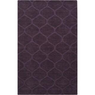 Hand-crafted Steele Solid Purple Lattice Wool Area Rug - 8' x 11'/Surplus