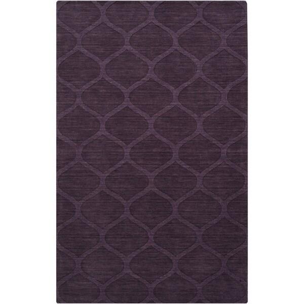 Hand-crafted Steele Solid Purple Lattice Wool Area Rug - 2' x 3'/Surplus