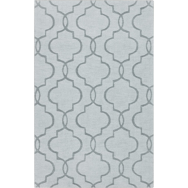 Hand-crafted Stover Grey Geometric Lattice Wool Area Rug - 5' x 8'