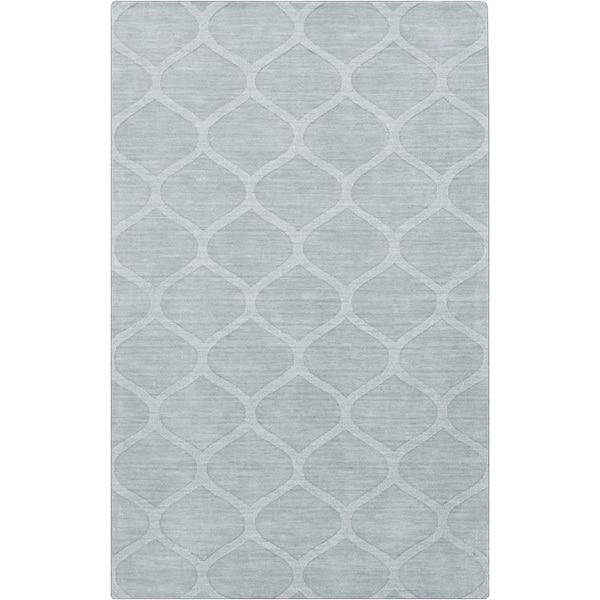 Hand-crafted Blue/Grey Lattice Wheaton Wool Rug (2' x 3')