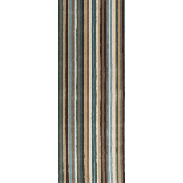 Hand-crafted Casual Teal/Brown Stripe Wentzville Wool Rug (2'6 x 8')