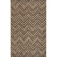 Hand-crafted Solid Brown Chevron Wellsville Wool Area Rug - 3'3 x 5'3