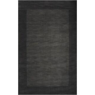 Hand-crafted Black Tone-On-Tone Bordered Wasola Wool Rug (2' x 3')