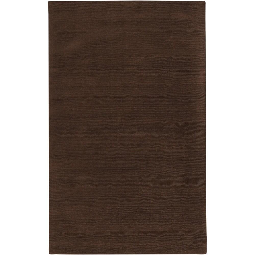 SURYA Hand-crafted Brown Solid Casual Walker Wool Rug (2'...