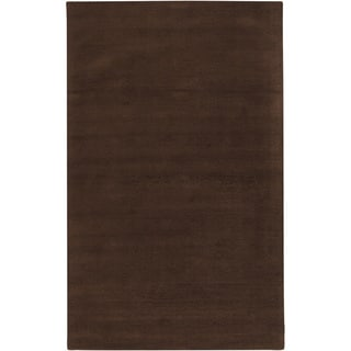 Hand-crafted Brown Solid Casual Walker Wool Rug (2' x 3')