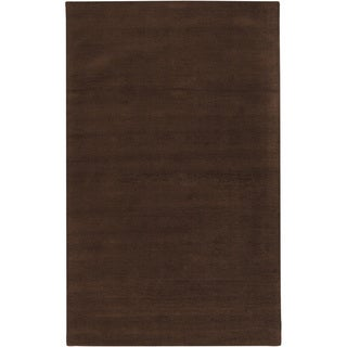 Hand-crafted Brown Solid Casual Walker Wool Area Rug - 2 x 3/Surplus (Mocha - 2 x 3/Surplus)