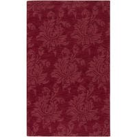 Hand-crafted Solid Red Rosebud Wool Area Rug - 9' x 13'