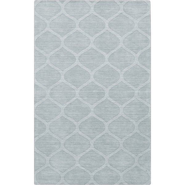 Hand-crafted Blue/Grey Lattice Wheaton Wool Area Rug - 5' x 8'