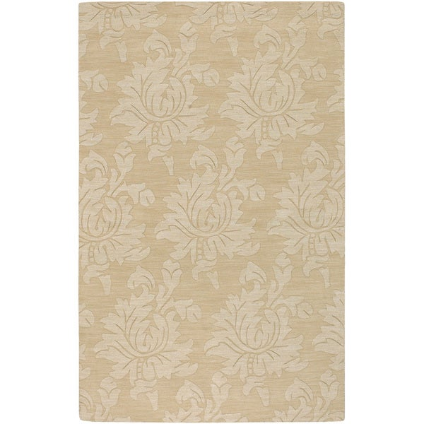 Hand-crafted Solid Beige Damask Risco Wool Rug (2' x 3')