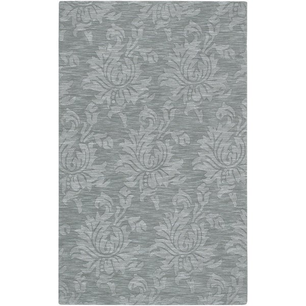 Hand-crafted Solid Blue Grey Damask Rolla Solid Wool Area Rug - 9' x 13'