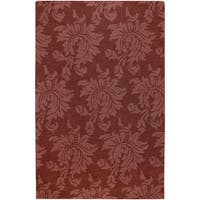 Hand-crafted Solid Red Damask Rea Wool Area Rug (9' x 13')