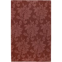 Hand-crafted Solid Red Damask Rea Wool Area Rug - 9' x 13'