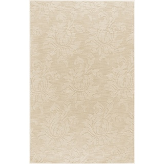 Hand-crafted Solid Ivory Damask Novinger Wool Rug (9' x 13')