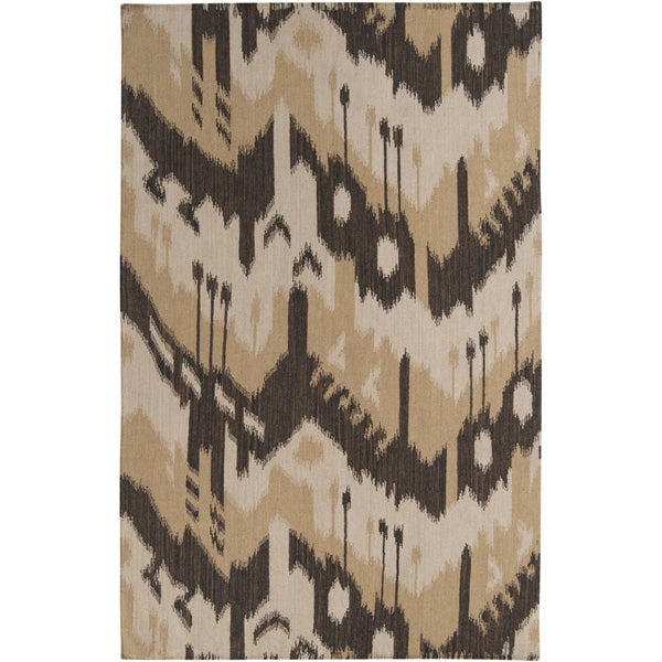Damask Flatweave Rug: Shop Hand-woven Ikat Chiclayo Brown Wool Flatweave Area