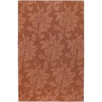 Hand-crafted Northmoor Solid Orange Damask Wool Area Rug (9' x 13')