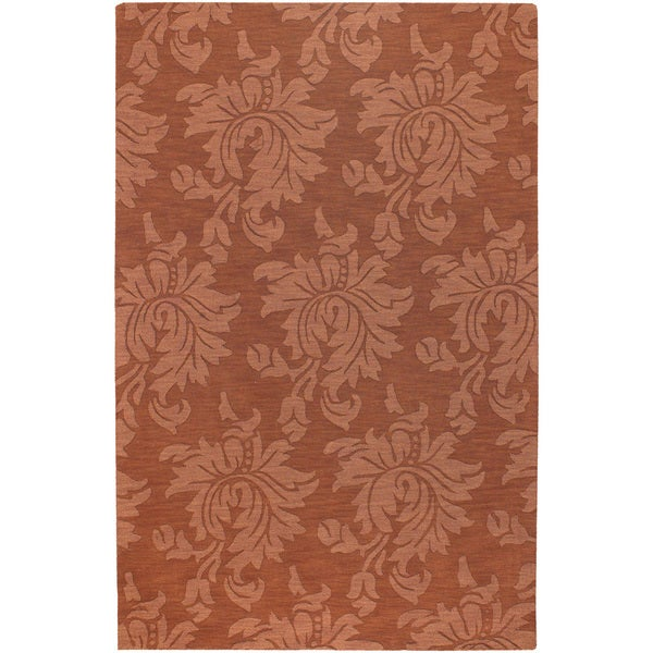 Hand-crafted Northmoor Solid Orange Damask Wool Area Rug - 9' x 13'