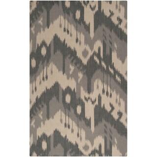 Hand-woven Ikat Piura Grey Wool Flatweave Rug (8' x 11')