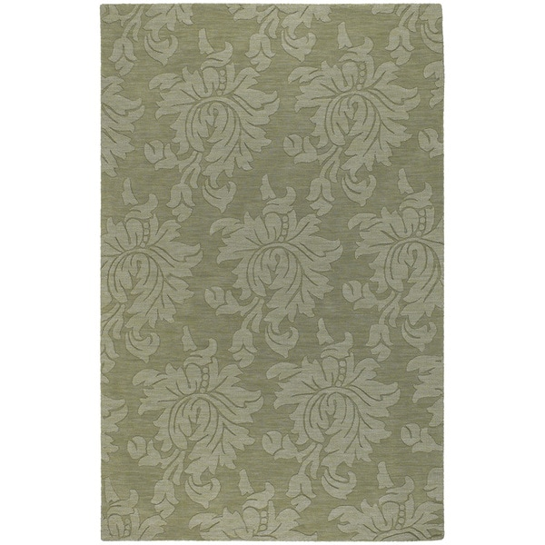 Hand-crafted Solid Green Damask Norwood Wool Area Rug (9' x 13')