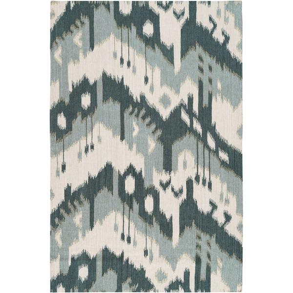 Hand-woven Ikat Huancayo Green Wool Flatweave Rug (8' x 11')