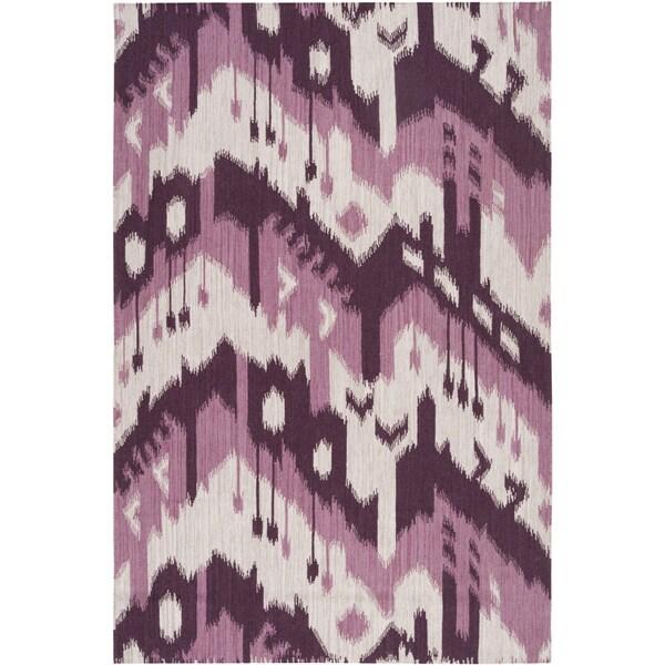 Hand-woven Ikat Iquitos Purple Wool Flatweave Rug (2' x 3')