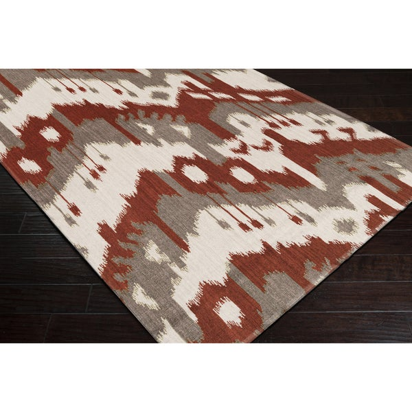 Hand-woven Ikat Pucallpa Red Wool Flatweave Rug (5' x 8')