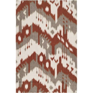 "Hand-woven Ikat Pucallpa Red Wool Flatweave Area Rug - 3'6"" x 5'6"""