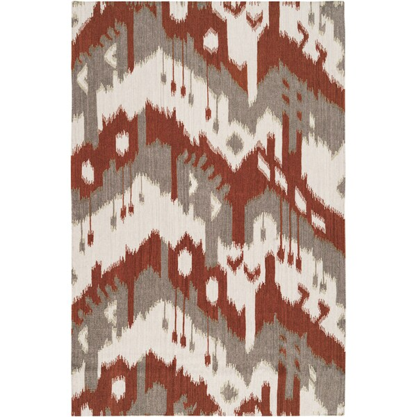 Hand-woven Ikat Pucallpa Red Wool Flatweave Area Rug - 8' x 11'
