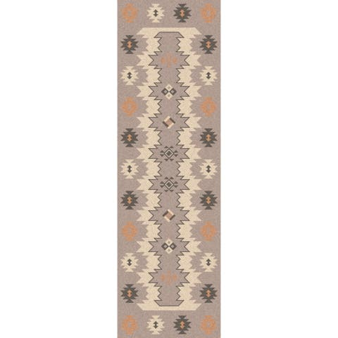 "The Curated Nomad Joyce Southwestern Wool Flatweave Area Rug - 2'6"" x 8' Runner"