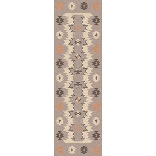 Hand-woven Sullana Grey Southwestern Wool Flatweave Rug (2'6 x 8')