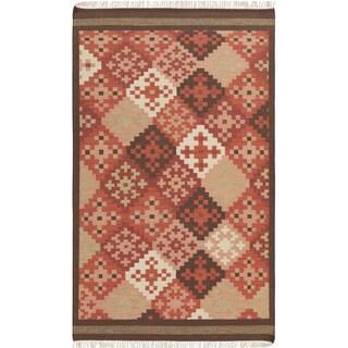 Hand-woven Cajamarca Red Southwestern Wool Flatweave Rug (2' x 3')