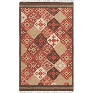 Hand-woven Cajamarca Red Southwestern Wool Flatweave Area Rug - 2' x 3'