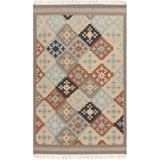 Hand-woven Ayacucho Grey Southwestern Wool Flatweave Rug (3'6 x 5'6)