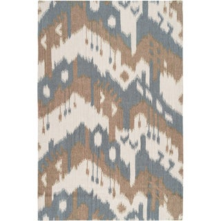 Hand-woven Ikat Chimbote Natural Wool Rug (5' x 8')