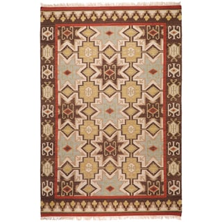 Hand-woven Tan/Red Southwestern Aztec Ica Hard Twist Wool Rug (9' x 13')