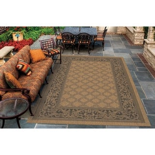 Couristan Recife Garden Lattice/Cocoa-Black Indoor/Outdoor Area Rug - 3'9 x 5'5