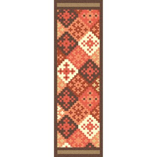 """Hand-woven Cajamarca Red Wool Runner Area Rug - 2'6"""" x 8'"""