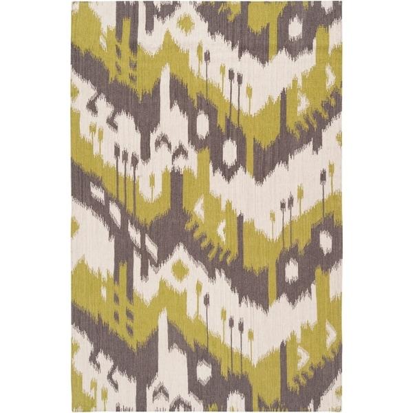Hand-woven Ikat Cusco Green Wool Flatweave Area Rug - 8' x 11'