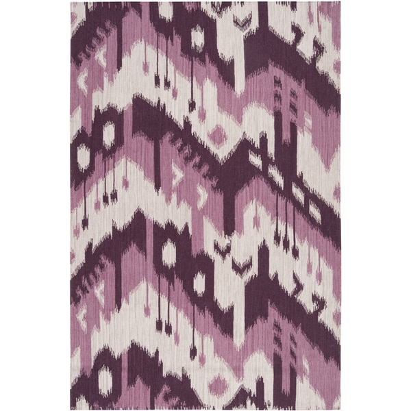Hand-woven Ikat Iquitos Purple Wool Flatweave Area Rug (5' x 8') - 5' x 8'