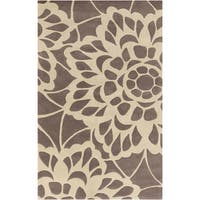 Hand-tufted Transitional Chancay Floral Brown Wool Area Rug - 2' x 3'